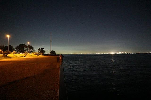 養老川臨海公園の夜景(岸壁に沿って)