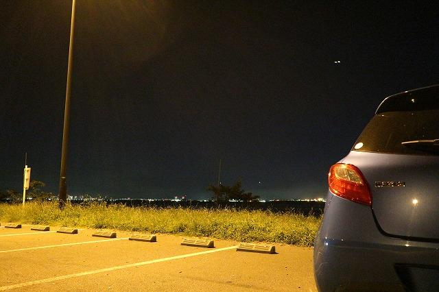 養老川臨海公園の夜景(とデミオ2)