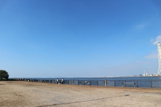養老川臨海公園-釣り客でにぎわう