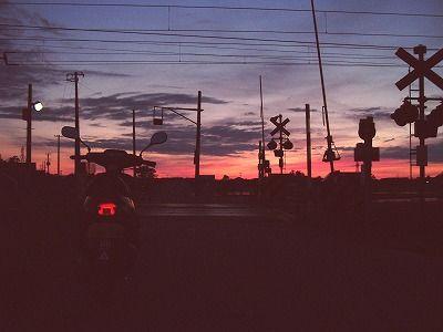 夕焼け 国道7号沿い